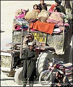 Refugees on Pakistan-Afghan border at Chaman