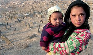 An Afghan girl holds a small child