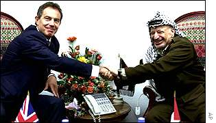 Tony Blair with Yasser Arafat in Gaza