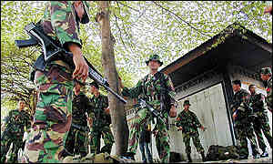 Indonesian army patrols were out in force