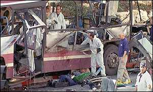 Israeli police examine the wreckage of a bus after a suicide attack in Haifa