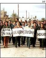 Turkish Cypriots protesting against Denktash policies and demanding swift resolution of the issue