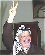 Yasser Arafat gives the V sign