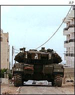 An Israeli tank in the West Bank
