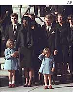 Kennedy clan at funeral, AP