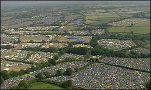 Glastonbury Festival aerial view