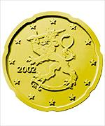 One of the Finnish euro currency coins