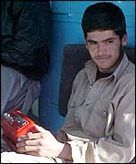 Man with radio set in Kabul