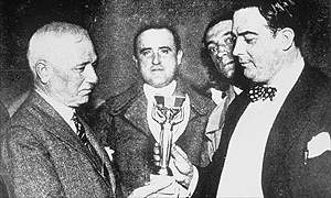 Jules Rimet (left) with Uruguay's Paul Jude after Uruguay had won the 1930 World Cup