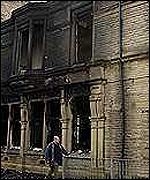 Damage from unrest in Burnley