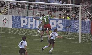Cameroon's Omam Biyik scores to defeat Argentina in the 1990 World Cup