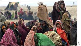 Afghan women in a refugee camp near Herat, Afghanistan