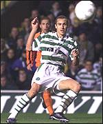 Henrik Larsson drives home his goal