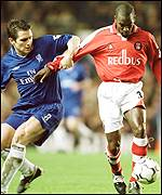Frank Lampard struggles to contain Chris Powell