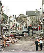 The devastation in Omagh town centre