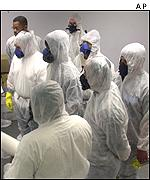 Environmental technicians at ETI International Inc learn to respond to anthrax scares