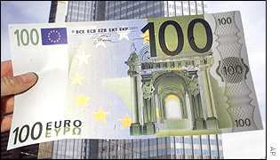 100 Euro note and the ECB building