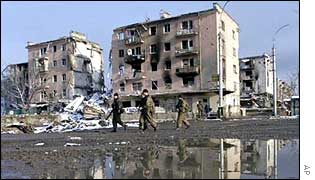 The ruined city of Grozny