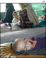 women and children in Afghan clinic