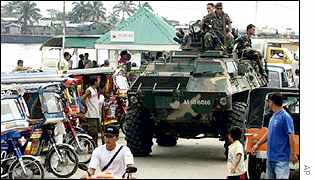 tanks in Zamboanga in the southern Philippines