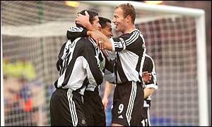 Nolberto Solano celebrates his goal against Ipswich with Alan Shearer and Gary Speed