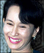 Aung San Suu Kyi pictured in February 1999