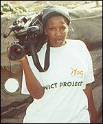 One of the women trained to use a video camera