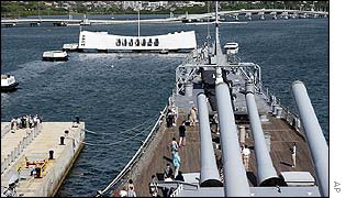 The Arizona Memorial seen from the deck of the Battleship Missouri,