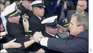 President Bush greets sailors on board the USS Enterprise aircraft carrier
