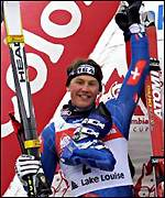 Silvano Beltrametti celebrates finishing second men's downhill event at the Ski World Cup 2000/2001 in Lake Louise