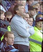 Derby manager Colin Todd barks instructions from the stand