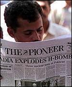 A newspaper in India reports on the nuclear tests