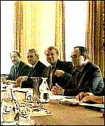 [ image: At the top table: Ashdown and other Lib Dems sit on the cabinet's constitutional reform committee]