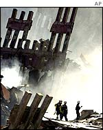 Remains of Twin Towers after attacks, AP