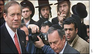 George Pataki (left) and Michael Bloomberg (right, front) at the Western Wall in Jerusalem