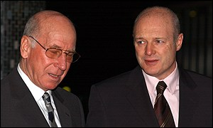 England soccer legend Sir Bobby Charlton and Manchester United chief executive Peter Kenyon