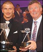 David Beckham with Sir Alex Ferguson at the BBC Sports Personality of the Year show