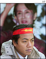 Burmese man in Japan at a sit-in and hunger strike to protest at the Burmese military