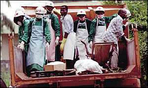Medical-workers in DR Congo in 1995 Ebola outbreak