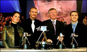 Ellen MacArthur, David Beckham, Alex Ferguson and Michael Owen with their awards