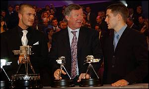 United boss Sir Alex Ferguson flanked by England golden boys David Beckham and Michael Owen