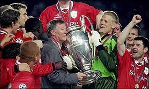Alex Ferguson leads the celebrations with Peter Schmeichel after Manchester United won the Champions League with a 2-1 win over Bayern Munich