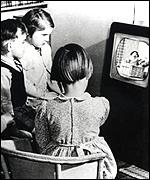 Children watching TV in 1950s: BBC