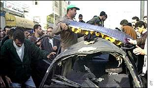 Wreckage of the car hit by missile in Hebron