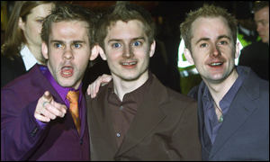 Hobbits Elijah Wood, Billy Boyd and Dominic Monaghan