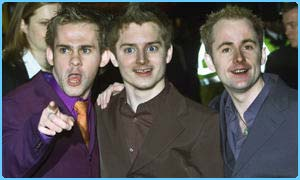 Hobbits Dominic Monaghan, Elijah Wood and Billy Boyd