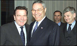 Gerhard Schroeder and Colin Powell