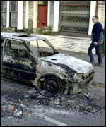 Burnt cars in Burnley