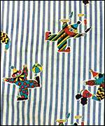 Clown-patterned curtains