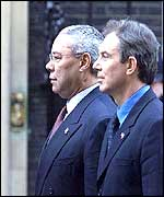 US Secretary of State Colin Powell with UK Prime Minister Tony Blair outside Downing Street